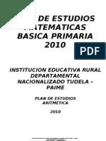 Plan de estudios aritmética 2010. I.E.D Tudela, Paime