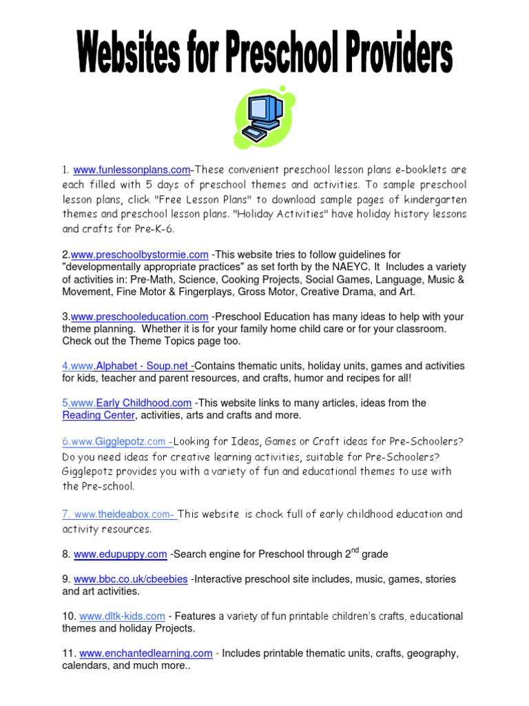 5 Websites For Preschool Providers Preschool Lesson Plan