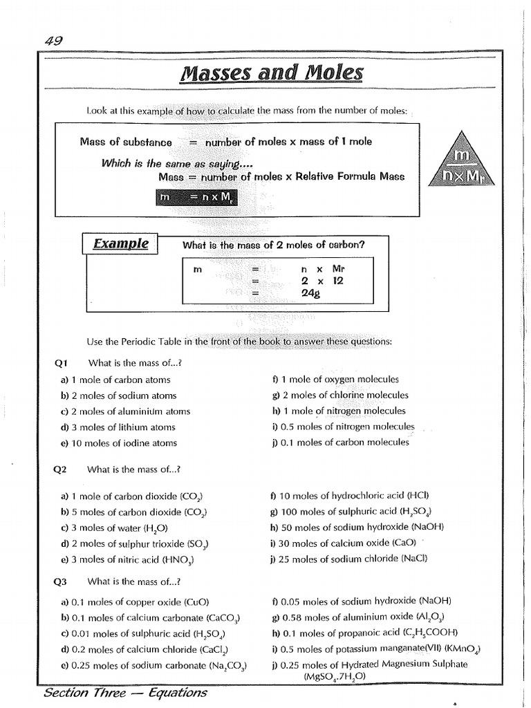 Igcse Chemistry Moles Worksheets Learnhive Icse Grade 10 Chemistry