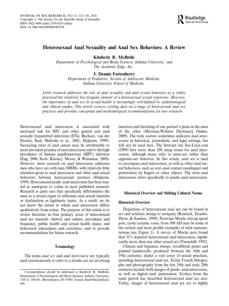 Anal sex studies