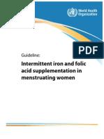 WHO Guideline_Intermittent IFA Suppl in Menstruating Women 2011