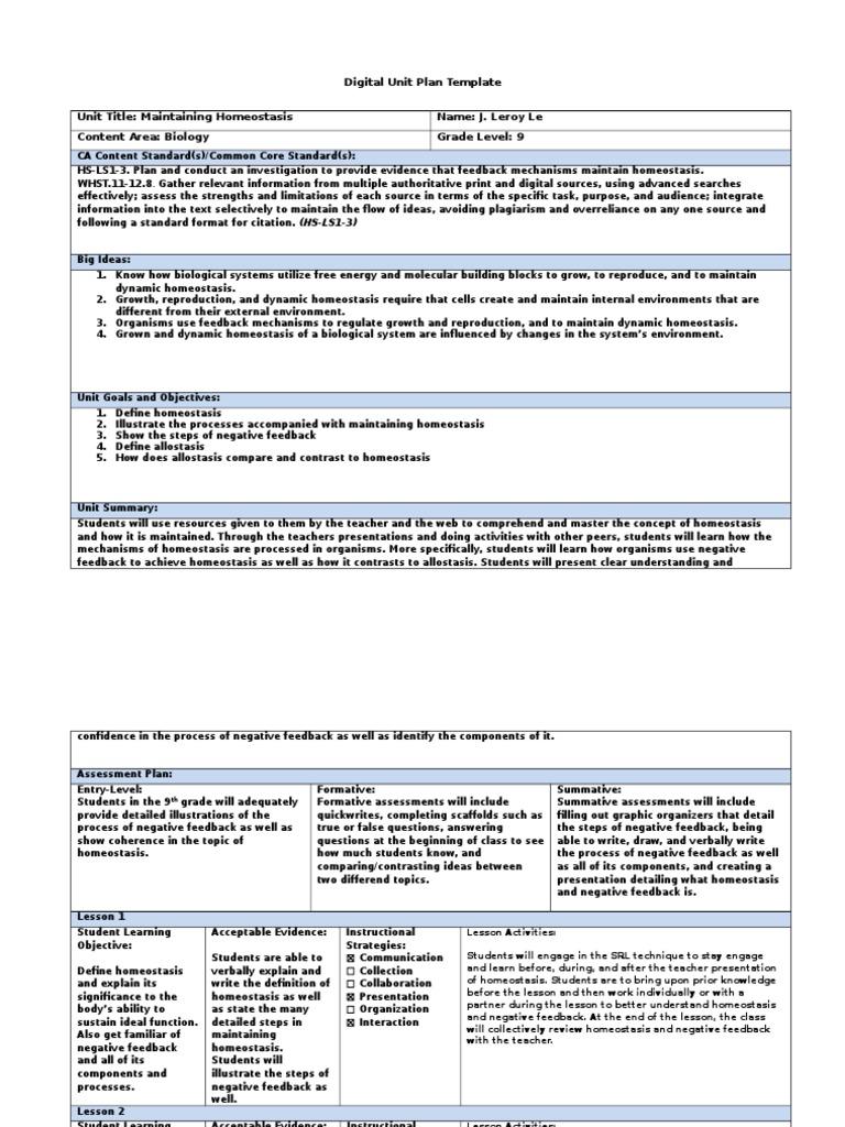Digital Unit Plan Template Homeostasis Educational Assessment
