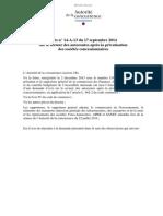 Rapport de l'Autorité de la concurrence sur le secteur des autoroutes, rendu en septembre 2014