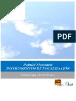 Politica Monetaria. INSTRUMENTOS DE FOCALIZACIÓN