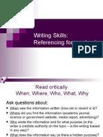 Writing Skills Referencing for Academic Purposes Tutorial May 2011