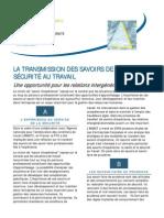 LA TRANSMISSION DES SAVOIRS DE SANTÉ ET SÉCURITÉ AU TRAVAIL