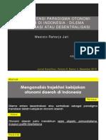 Inkonsistensi Paradigma Otonomi Daerah Di Indonesia Dilema Desentralisasi Dan Sentralisasi