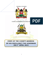 STATE OF THE COUNTY ADDRESS BY HIS EXCELLENCY THE GOVERNOR ON 9TH APRIL 2015