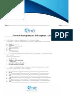 Prova de Portugues - Unidades 4 a 6