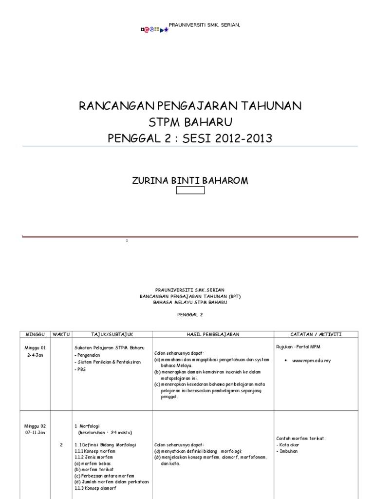 Rancangan Pengajaran Tahunan Stpm Baharu Penggal 2 Sesi 2012 2013