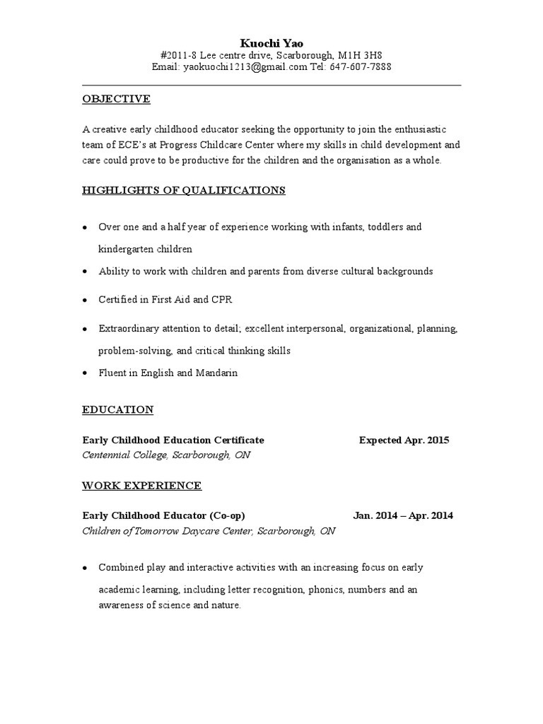 Ece resume kuochi early childhood education day care 1betcityfo Image collections