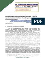 De Identidades y Relaciones Internacionales- Crític a Al Constructivismo, Relaciones de Poder y El Lugar de Los Intereses Nacionales
