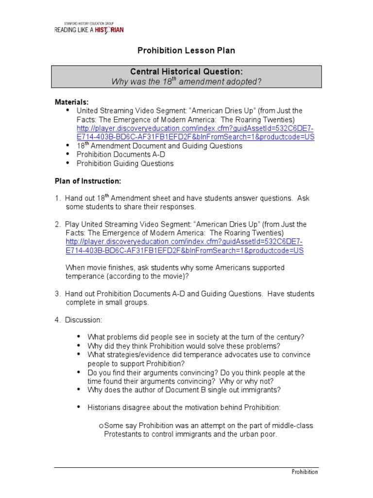 prohibition lesson plan Ratification – Roaring Twenties Worksheets