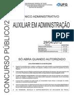 Prova  UFG Auxiliar Administrativo 2012