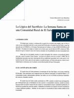La Lógica Del Sacrificio, La Semana Santa Comunidad Rural EL - CB Lara Martínez