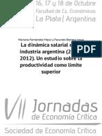 La dinámica salarial en la industria argentina (2003-2012). Un estudio sobre la productividad como límite superior