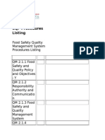 SQF Quality System Procedures Listing 2015