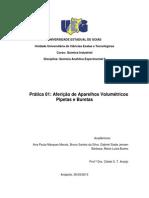 Aferição de Aparelhos Volumetricos Analitica Exp II