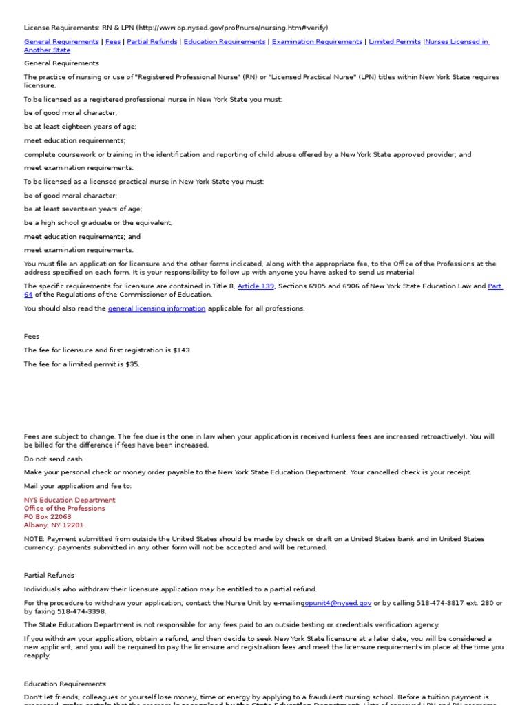 NY REQUIREMENTS | National Council Licensure Examination