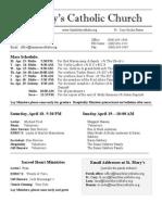 Bulletin for April 12, 2015