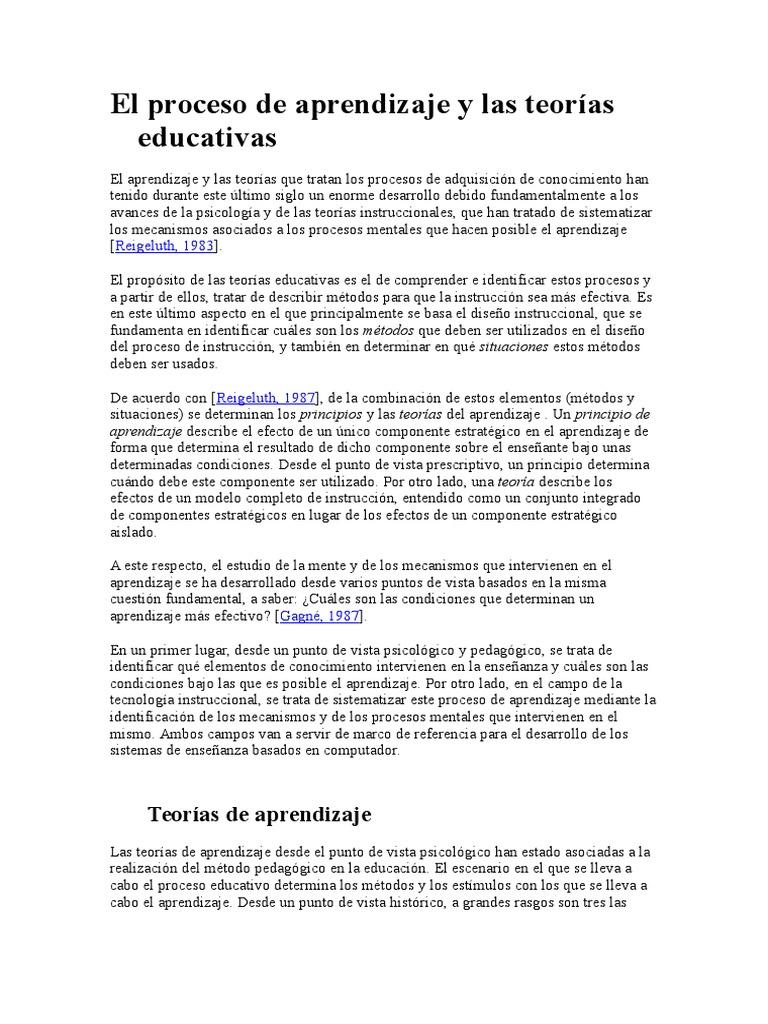 El Proceso de Aprendizaje y Las Teorías Educativas