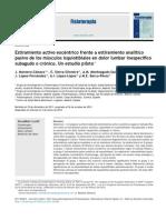 2013_Estiramiento Activo Excéntrico Frente a Estiramiento Analítico Pasivo de Los Músculos Isquiotibiales en Dolor Lumbar Inespecífico Subagudo o Crónico. Un Estudio Piloto