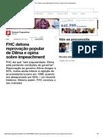 FHC Detona Reprovação Popular de Dilma e Opina Sobre Impeachment