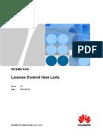 License Control Item Lists(RAN15.0_01)
