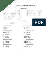 Formulas Para Ajustes y Tolerancias
