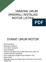 Persyaratan Umum Instalasi Motor