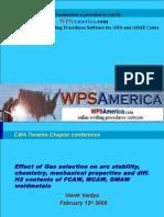 WPSAmerica Shielding Gases and Mechanical Properties