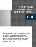 Phonetic and Phonology 20 Sounds of Vowel