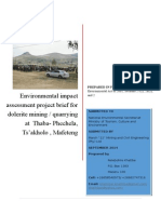 Environmental Impact Assessment Project Brief for Dolerite Mining Intro