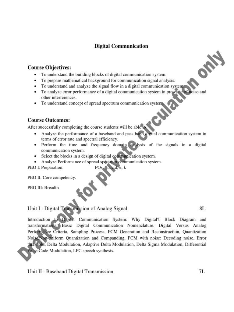 Draft Te E Tc Syllabus 2012 Course Wef Ay 2014 15 Forward Error Block Diagram Digital Communication System Correction Antenna Radio