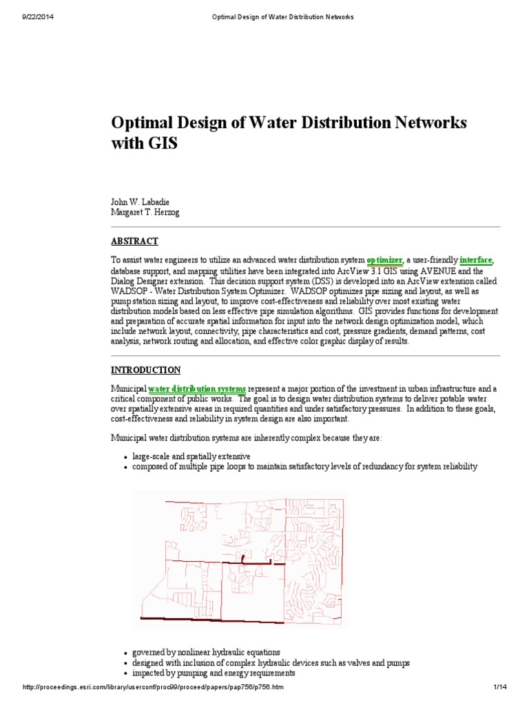 Optimal Design Of Water Distribution Networks Supply Network Piping Layout Optimization Geographic Information System