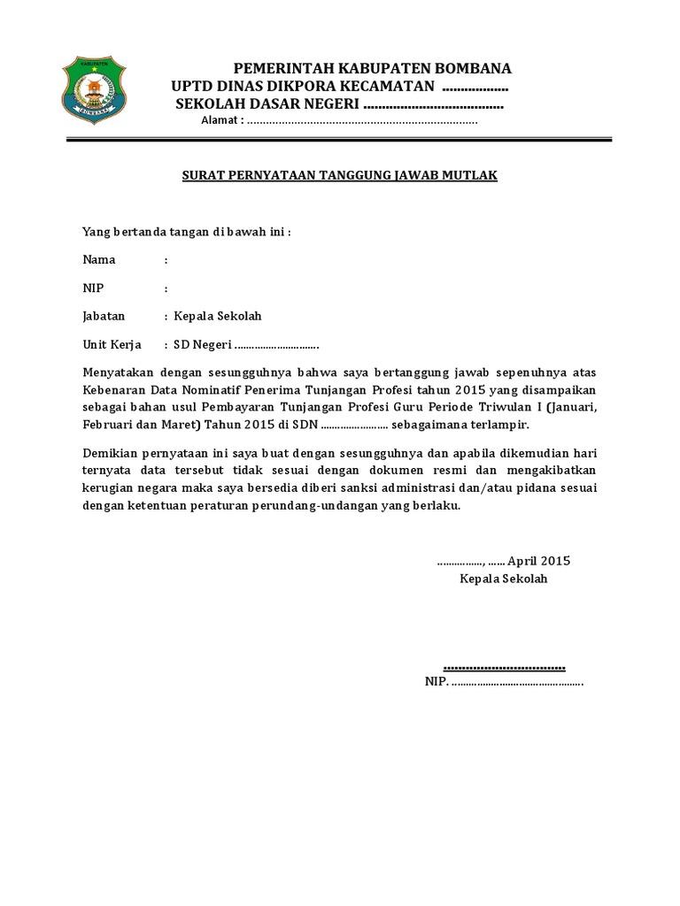 Surat Pernyataan Tanggung Jawab Mutlak Contoh