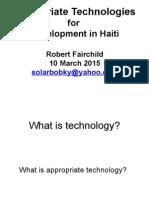 Appropriate Technologies for Development in Haiti