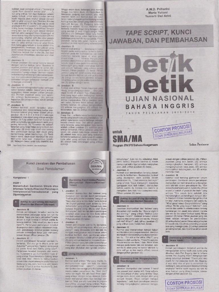 Kunci Jawaban Detik Detik Bahasa Indonesia Tahun 2014 2015 Ilmusosial Id