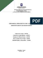 Memorial de Cálculo - Dimensionamento Reservatórios