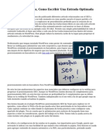 Seo Para Wordpress, Como Escribir Una Entrada Optimada