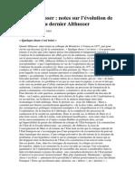Toni Negri Pour Althusser Notes Sur l'Évolution de La Pensée Du Dernier Althusser