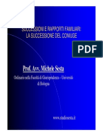 La Successione e i Rapporti Familiari - Prof. Michele Sesta