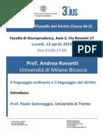 Andrea Rossetti, Il linguaggio ordinario e il linguaggio del diritto