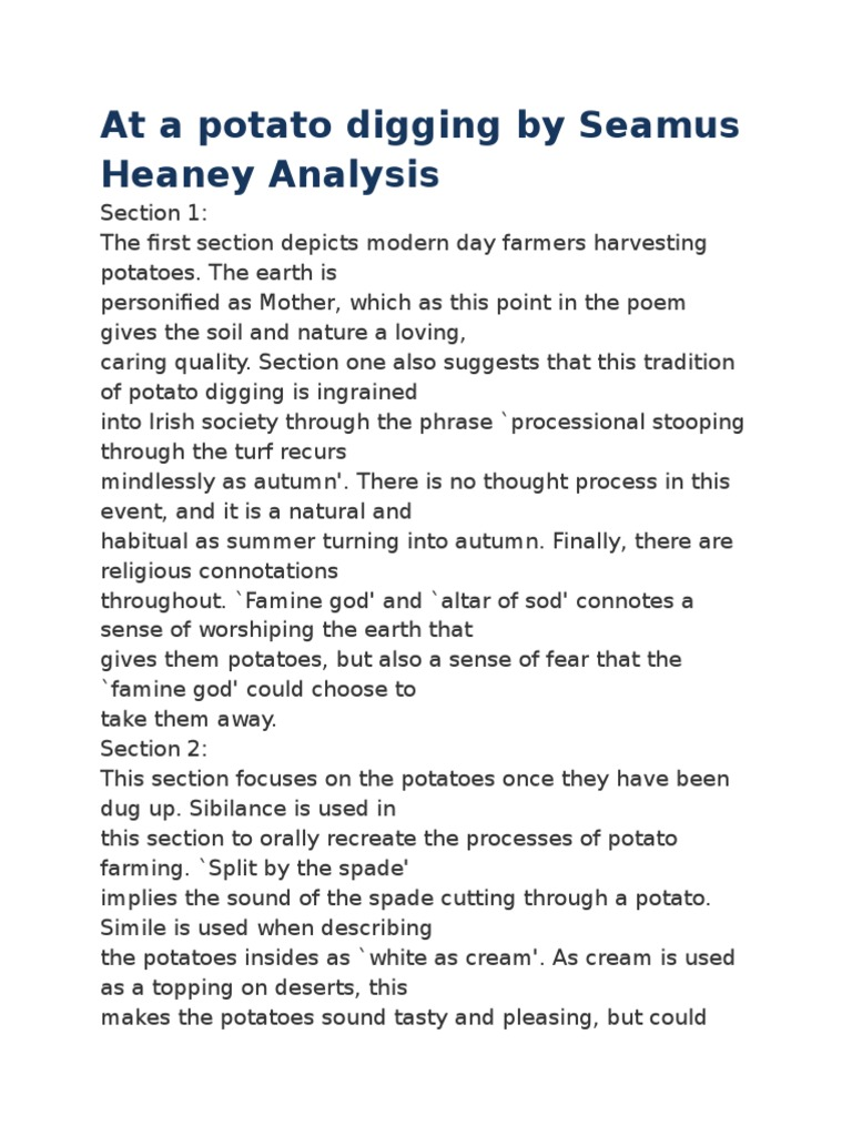 at a potato digging by seamus heaney analysis potato agriculture