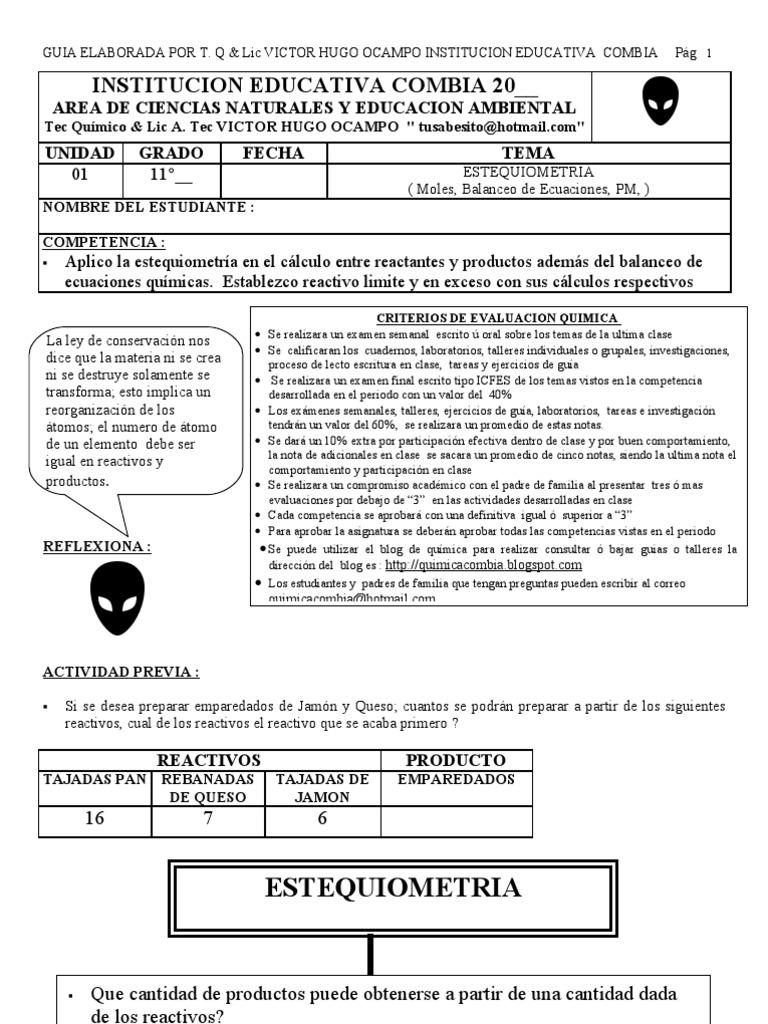 Lujo Hoja De Cálculo Respuestas EstequiometrÃa De Gas Colección de ...