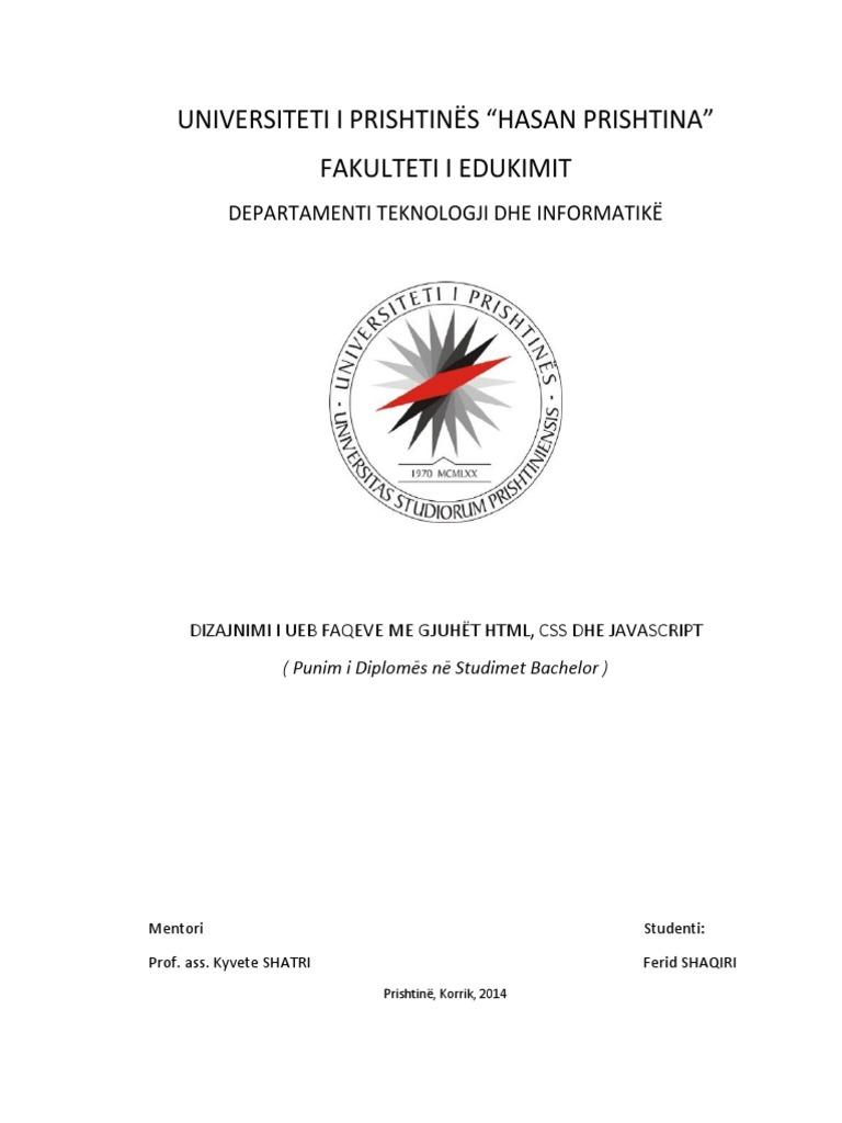 Punim Diplome Bachelor Dizajnimi I Ueb Faqeve Html Css border=