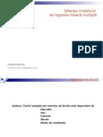Petrovici (2007) - Slectia Unui Model de Regresie