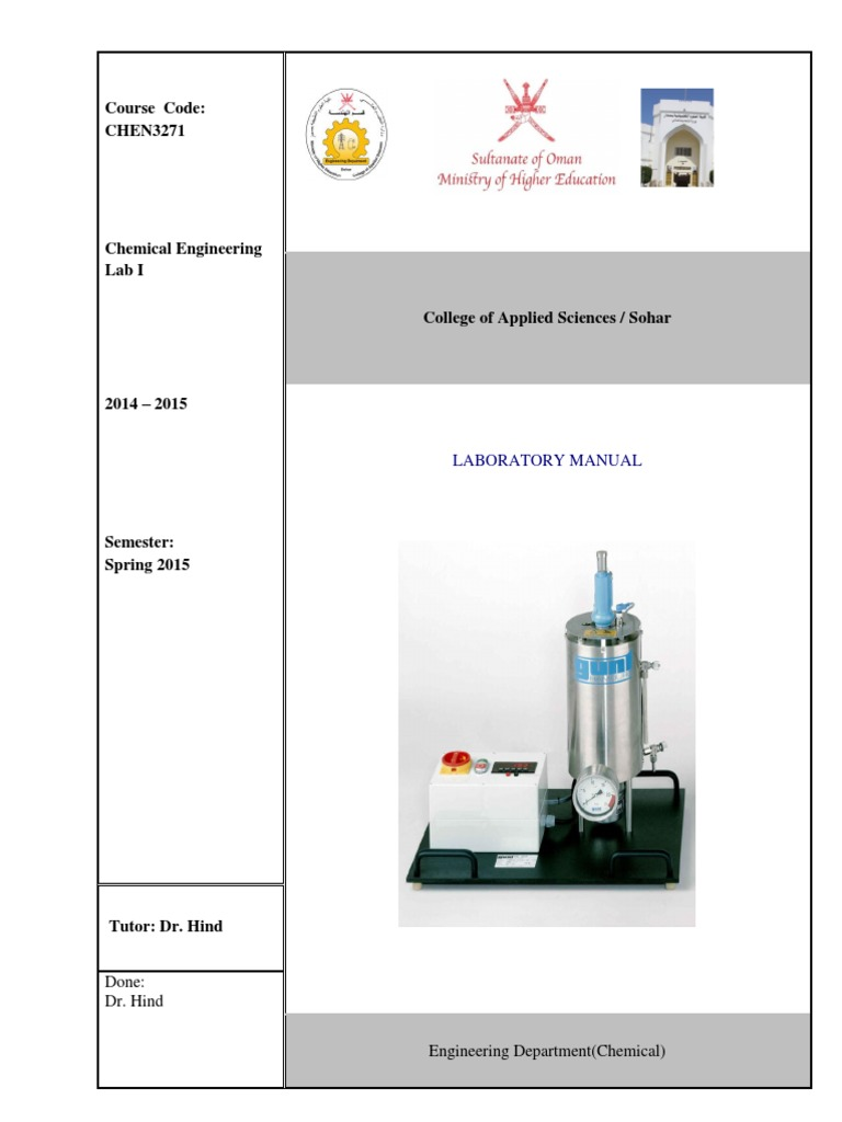 Chemical Engineering Lab I Manual - SP15 | Pressure Measurement | Experiment