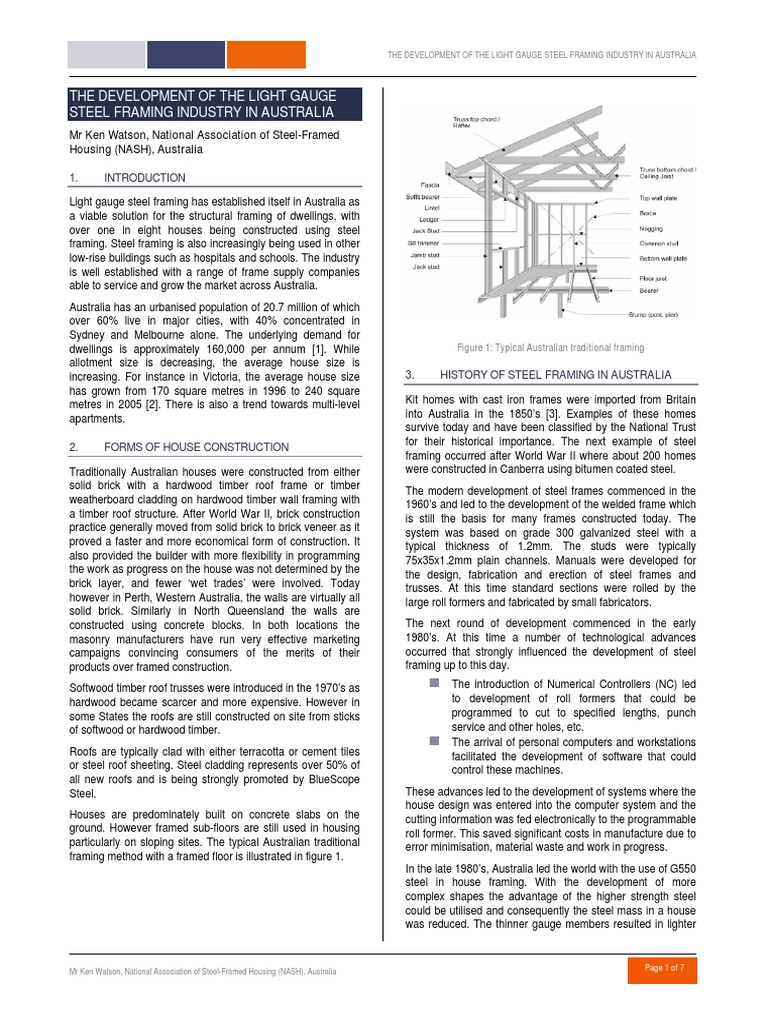 The Development of the Light Gauge Steel Framing Industry in ...
