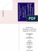 Damien Lamberton, Bernard Lapeyre, Nicolas Rabeau, Francois Mantion Introduction to Stochastic Calculus Applied to Finance 1996